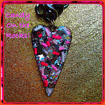 Candy on the rocks! V-Day resin candy heart bling necklace!