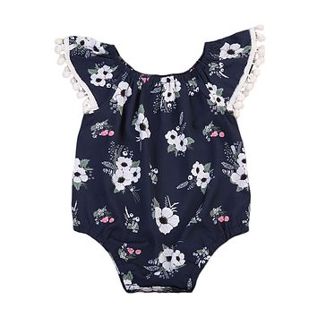 Baby Girl  Floral Printed Tassel Ball Romper Sun suit Navy Blue Jumpsuit Clothing