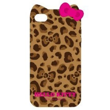 Deco Fairy Kitty Cat Leopard & bow case for Apple Iphone 4 4gs - Brown