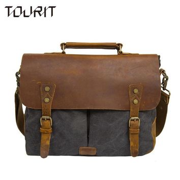 TOURTI 2017 New Fashion Men's Vintage Handbag PU Leather Shoulder Bag Messenger Laptop Briefcase Satchel Bag Fit 14 inch Laptop