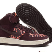 NIKE Women Men Running Sport Casual Shoes Air force High tops Brown floral