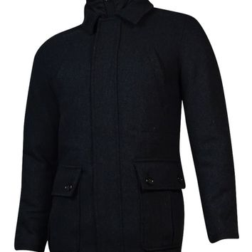 Tasso Elba Men's Wool Blend Zip Button Car Coat (S, Black Combo)