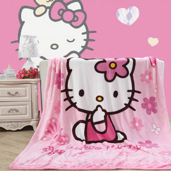 Brief style kitty cat light pink Blanket Flannel fabric sofa Throws Cartoon single bedsheets Multifunctional Blankets 150*200cm