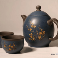 Blue Oval Cherry Blossom Yixing Tea Set