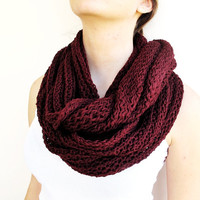 Burgundy Loop lnfinity Knitted Scarf,Soft and Warm Loop Scarf, Christmas Gift Knit Infinity Scarf,