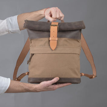 Canvas and leather backpack Roll top backpack by Kruk Garage Made of British army duffle bag