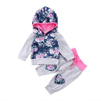 2 pcs Adorable Gray and Floral Hoodie Set