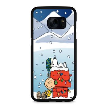 Charlie And Snoopy Brown Christmas Samsung Galaxy S7 Edge Case