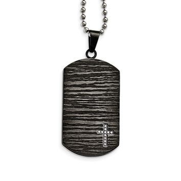 Stainless Steel Polished/brushed Ip-plated 1/10ct.tw Diamond Dog Tag Necklace