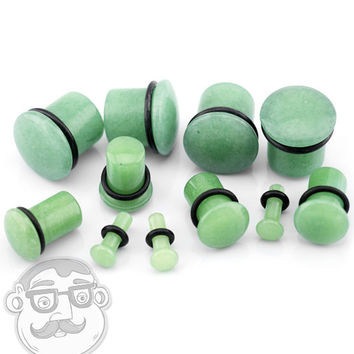 Synthetic Green Jade Stone Plugs - Single Flare