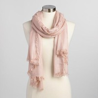 Pink and Gold Metallic Woven Scarf