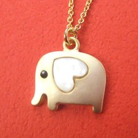 Small Elephant Animal Necklace in Gold with Heart- ALLERGY FREE from Dotoly Love