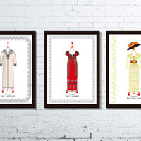 Titanic gowns - Fashion and film illustration - Fashion print - Fashion posters