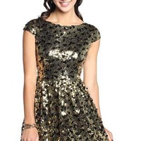 retro sequin homecoming dress with two tone sequins - debshops.com