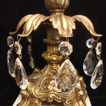 Vintage German Hand Cut Over 24% Lead Crystal Compote w/ Matching Candle Holders Brass Footed Bases and Italian Marble