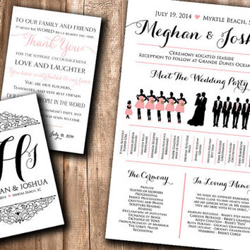 Wedding Silhouette Program Card Meet The Bridal Party Fan Printable
