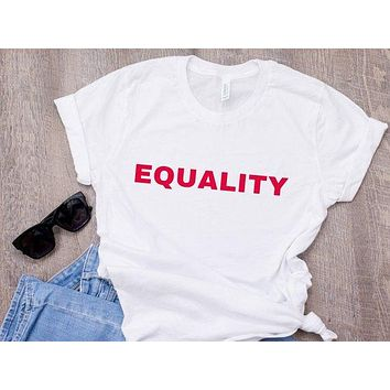 Skuggnas Equality T-shirt Equal Rights Homosexual Feminist Casual Tops The Future is Equal Tumblr T shirt Women Fashion Clothing