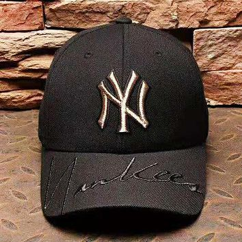 MLB NY Fashion New Embroidery Letter Women Men Sunscreen Cap Hat Black