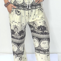 Elephant Yoga Black cream colors/Harem Pants/Boho/Elephant Print design/Drawstring elastic waist/Comfy  wear/Trousers/Baggy pant/Thailand.