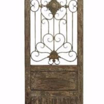 Wall Gate Panel Art Sculpture Rustic Decor Metal Wood Floral Scroll Decor NEW