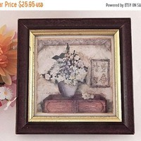 Wall Hanging Framed Art Print Winterle Olson Original Watercolor Gold and White Floral Vintage Home Decor FREE SHIPPING