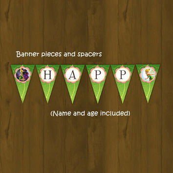 Tinkerbell Printable Birthday Banner - Tinkerbell Birthday Bunting Pink and Green