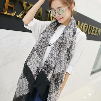 New Fashion Office Lady South Korea Cotton Scarf Plaid Classic Simple Summer Autumn Scarf Women Linen Cotton Thin Soft180*90CM