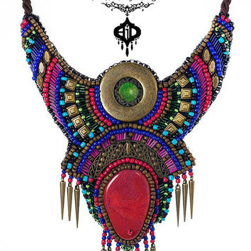 Bodaway Firemaker Bohemian boho bead embroidery bib necklace pink dragon vein agate bronze details tribal inspired sun life colorful hippie