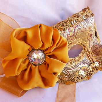 MASQUERADE MASK Golden Brocade Masquerade Ball Mask with Gold Flower