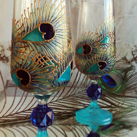 Crystal Set of 2 Hand Painted Wedding Pilsner beer glasses Peacock feathersw in gold, blue and turquoise color