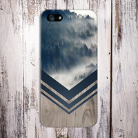 Mountain Fog x Navy Blue Chevron Wood Design Case for iPhone 6 6 Plus iPhone 5 5s 5c iPhone 4 4s Samsung Galaxy s5 s4 & s3 and Note 4 3 2