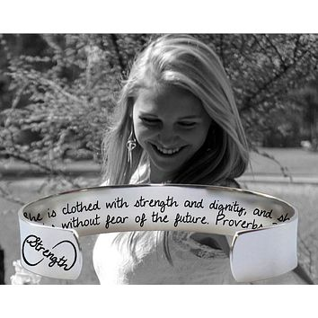 She Is Clothed In Strength and Dignity Bracelet | Graduation Gift