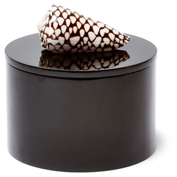 Round Black Box w/ Marble Cone Shell, Boxes