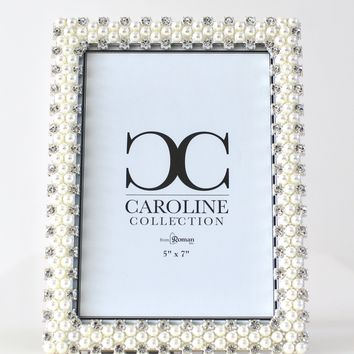 Staggered Pearl & Rhinestone Picture Frame