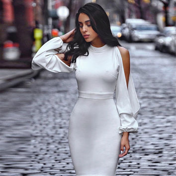 Newest Summer Bandage Dress Women Celebrity Party White Lantern Sleeve