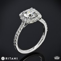 14k White Gold Ritani French-Set Cushion Halo Diamond Band Engagement Ring