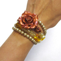 Day Of The Dead Bracelet Sugar Skull Wrap Copper Rose Wedding Cuff Jewelry
