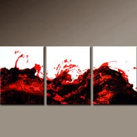 3pc Abstract Art Painting on Canvas 48x20 Original Contemporary art Paintings by Destiny Womack - dWo - Lava