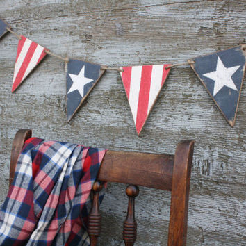 FREE SHIP Wood American Flag Banner Pennant Bunting Tags Americana Signs