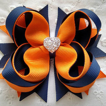 Navy & Orange Hair Bow with Sparkly Heart~ Orange Navy Back to School Boutique Hair Bow~ Gift for Girl~ Gift for Her~ School Uniform Hairbow