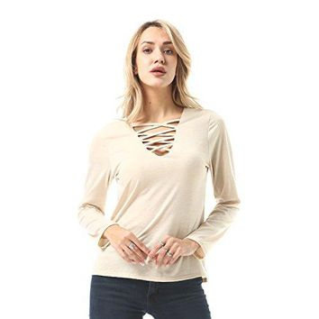 FISOUL Womens Sexy Tops Lace Up Criss Cross Front Deep V Neck Long Sleeve T Shirts Tunic Tops