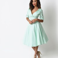 Preorder - Unique Vintage 1950s Style Mint Delores Sleeved Swing Dress