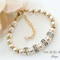 Gold Filled and Sterling Personalized Flower Girl Bracelet