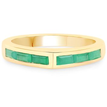 LoveHuang 0.65 Carats Genuine Emerald Ring Solid .925 Sterling Silver With 18KT Yellow Gold Plating