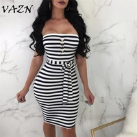 VAZN New Arrive Best Quality 2018 Sexy Style Women Dress Striped Slash Neck Strapless Belt Bodycon Mini Dress Vestido D8149