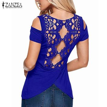 Sexy Off Shoulder Lace Solid Tees Tops Summer Blusas Shirts Short Sleeve Hollow Backless Blouses ZANZEA Women Plus Size 5XL