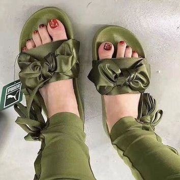 PUMA Fenty Rihanna Silk Bow Slide Sandals Shoes Sneakers Spring Slippers Shoe(10-color) Army Green I