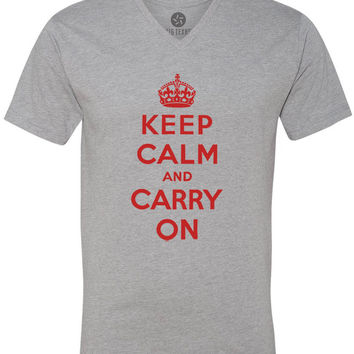 Keep Calm and Carry On (Red) Short-Sleeve V-Neck T-Shirt