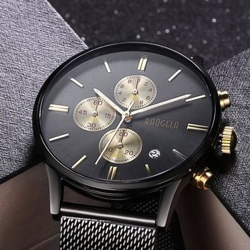 BAOGELA 2017 Bullet Series Chronograph Fashion Men's Watch Multi-Function Stainless Steel Mesh Sports Slim Male Watch Masculino