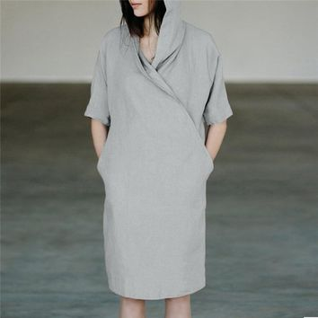 Feitong Cotton Linen Dress Women Casual 1/2 Sleeved Hoodie Dresses Female Solid Loose Pockets Tunic Dress Vestidos Mujer 2019
